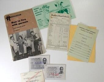 Vintage Ephemera Lot 1950s/1960s Student ID Card, Report Cards