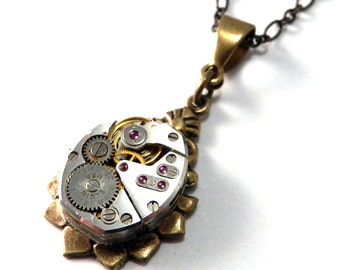 Steampunk Necklace - Petite Vintage Watch Movement Teardrop Pendant Brass - Ruby Jewels on Brass Victorian Pendant - Steampunk Jewelry
