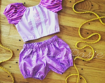 Rapunzel Inspired Everyday Dress Up PlaySet, Two Piece Crop Top and bloomers...Made to Order, size 6m-6