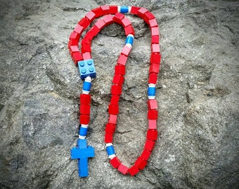 Lego Rosary - The Original Catholic Lego Rosary - Red and Blue Catholic Rosary for Boys Christmas Gift