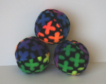 Rainbow Flower Fleece Squeaky Dog Ball toy small