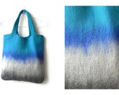Summer tote bag, felt handbag, turquoise and gray color combination, cozy handbag, woman bag, ready to send, wool bag, GIFT idea, Ready send