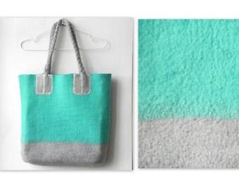 Mint gray bag, Unique handbag, summer colors mix, felt tote bag, wool handbag, GIFT idea, Ready to send