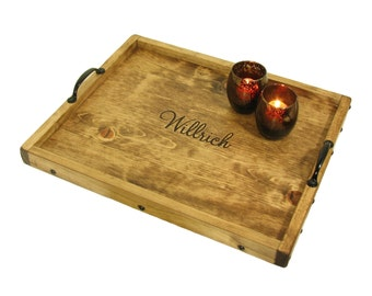 Ottoman Tray Engraved, Personalized Serving Tray, Decorative Tray, Breakfast Tray, Coffee Table Tray, Vanity Tray, Charger Wooden, Salver