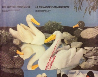 The Stuffed Menagerie Vintage Sewing Pattern Toys Decorative Stuffed Toys 1985 Swans Ducks Sheep Penguins
