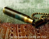 SALE...Bullet Shell Rifle Casing Stash Vial with Verdgris Patina Brass - Secret Stash conntainer from recycled bullet shells-  SV-223-GP