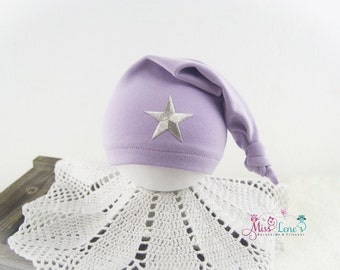 Newborn Baby Stocking Hat Newborn Photo Prop Purple Sleepy Cap Newborn Baby Girl Photography Prop