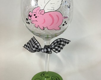 Handpainted Flying Pig Wine Glasses