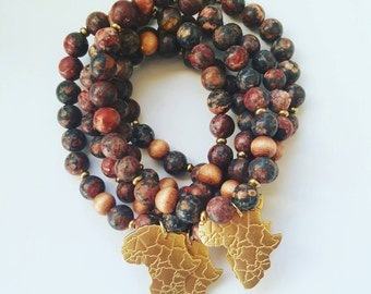 Stretch beaded bracelet// jasper bead bracelet//Africa pendant jewelry//gift for men//unisex bracelet//gift for her