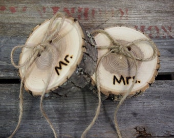 RING PILLOW Rustic Wood Slices - Mr. & Mrs. - Personalized - Wood Slice - Country Wedding - Brown - His and Hers