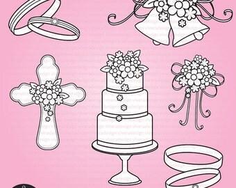 Digital Stamp - Wedding Items: wedding cake, wedding rings, wedding bells, and beautiful bouquet