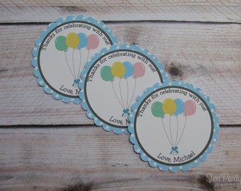 Balloon Party Custom Favor Stickers - Up, Up, and Away Collection