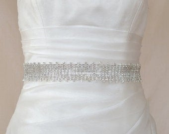 Elegant Jeweled Crystal Rhinestone Beaded Wedding Dress Sash Belt