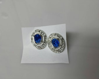 Avon  Blue Sapphire Convertible Pierced earrings Mint Condition