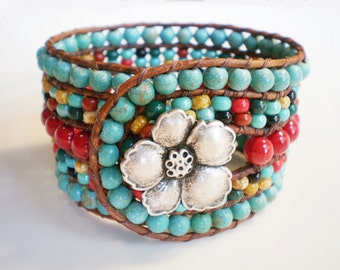 Turquoise Jewelry Southwestern Jewelry 5 Row Bracelet Leather Wrap Bracelet Red & Turquoise Jewelry