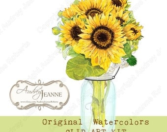 Watercolor Digital Sunflower Country Rustic Mason Jars, Clip Art Kit, E14-17F, floral flowers card making scrapbooking vintage look