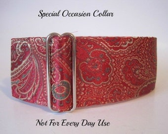 Red Martingale Collar, Silk Martingale Collar, Red Greyhound Collar, Silk Dog Collar, Brocade, Custom Dog Collar