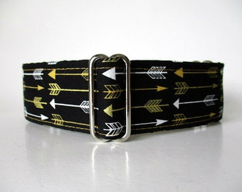 Black and Gold Martingale Collar, Wide Dog Collar, Arrows Martingale Collar, Black and Gold Dog Collar, Arrows Dog Collar