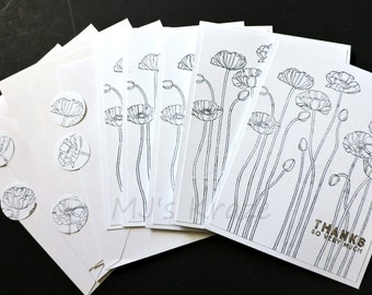 Black and White Stamped Poppies Thanks So Much Card Set of 5