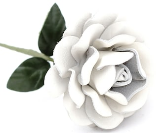 White leather rose long stem leather flower third anniversary wedding gift 3rd anniversary leather anniversary bouquet