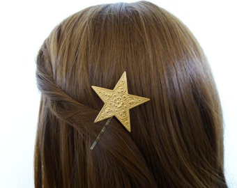 Star Bobby Pin Gold Bridal Hair Clip Bride Bridesmaid Constellation Galaxy Night Sky Astronomy Space Accessories Unique Womens Gift For Her