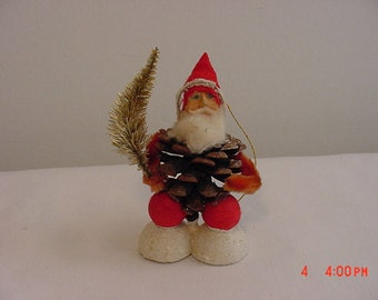 Vintage Santa Claus Pine Cone Christmas  Decoration   16 - 408