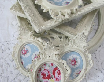 Ornate Picture Frame Set, Shabby Chic Cream Picture Frames, Vintage Antique White Frames