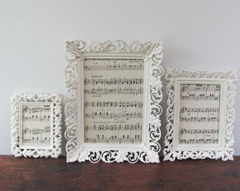 Ornate Picture Frame Set, Shabby Chic Cream Filigree Picture Frames