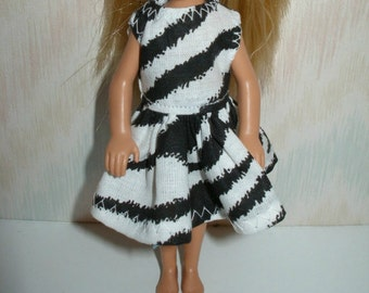 """Handmade 5.5"""" little sister fashion doll clothes - black and white animal print dress"""