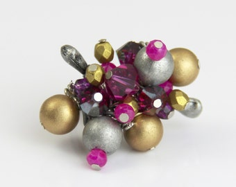 Space Age Fuchsia Adjustable Cluster Ring - Hot Pink Fuchsia Magenta Crystal Antique Silver Grey Gold Big Fun Cocktail Ring