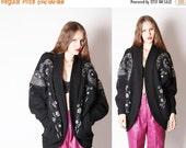 70% Off FINAL SALE - Oversize Sweater / Avant Garde / Cocoon / Batwing / Sequin / Sequins / Sweater Coat / 1980s Sweater / Art Deco / / 0763