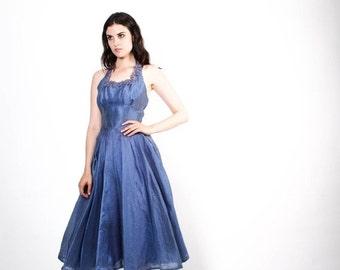 70% Off FINAL SALE - 50s Iridescent Blue Party Dress - 1950s Blue Wedding Dress - The Cornelia Dress - 5320