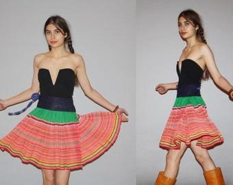 Vintage 1960s Tribal Hippie Rainbow Woven Pleated Circle Festival wrap Skirt  - Vintage Rainbow Skirts - Vintage Knee Length Skirt  - WB0410