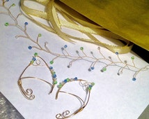 MADE TO ORDER/Ear Cuff & Hair Vine Set/Circlet/Halo/Fantasy/Goddess/Elven/Fairy/Elf/Mermaid Ear Wire/Ear Wrap with Hair Vine Wire Wrapped