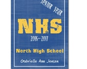 Hardcover Memory Book, High School, Senior Year, Class of 2017, Graduation Gift, Personalized Book, Keepsake, Big Brown Chair Books