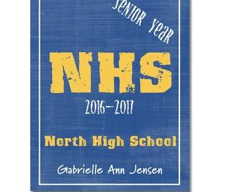 Hardcover Memory Book, High School, SENIOR YEAR, Class of 2018, Graduation Gift, Personalized Book, Keepsake, Big Brown Chair Books,