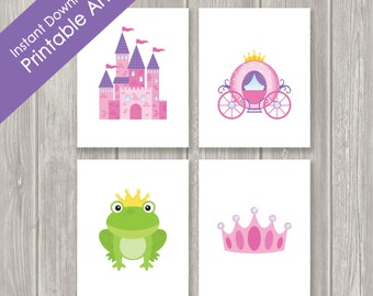 Printable Childrens Wall Art - Nursery Decor - Kids Wall Art - Princess - Castle - Crown - Carriage - INSTANT DOWNLOAD- Set of Four - 8 x 10