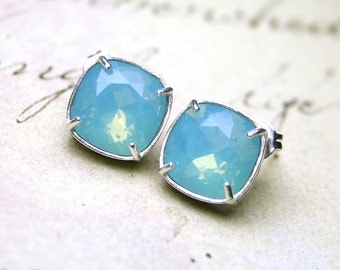 Blue Crystal Stud Earrings In Sterling Silver - Swarovski Crystal Cushion Cut Stones In Pacific Blue Opal Set In Sterling Silver Posts
