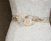 Wedding belt, Bridal belt, Ivory Gold Wedding dress belts sashes, Floral belt sash, Flower Floral Bridal belts sashes OOAK