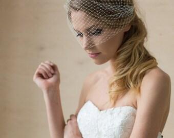 Wedding Veil, Birdcage Veil, 9 inch Bridal veil, Bridal Birdcage Veil, Blusher Veil, Bandeau Veil, Bridal headpiece, Bridal hair accessories