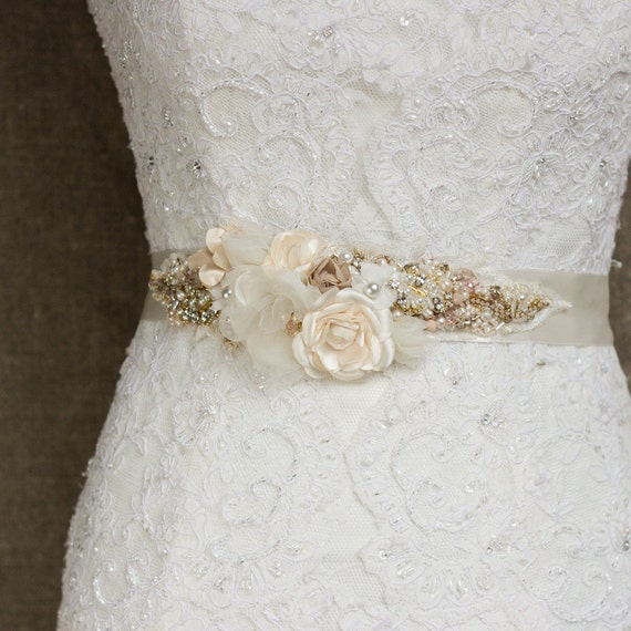 Wedding belt bridal belt ivory gold wedding dress belts for Ivory wedding dress belt
