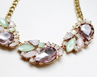 Blush and Mint Crystal Cluster Statement Necklace Limited Edition Necklace Ladies Jewelry Ladies Necklace Statement Jewelry Blush Pink Mint