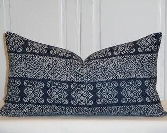 Indigo Batik Hmong Decorative Pillow Cover - Fit 12 x 22 -Hmong Pillow -Tribal Pillow - Navy Pillow - Toss Pillow - Hand Stamped