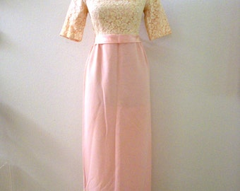 Vintage 50s 60s Pink Cocktail Party Dress - Pale Pink Crepe and Lace Maxi Dress - Pink Prom Dress - Evening Dress - Medium estimated