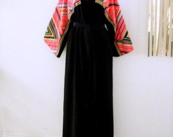 70s Black and Multi Robe by Vanity Fair - Vintage Black Boho Robe - Bell Sleeve Boho Chic Bath Robe - Black Velour Wrap Robe - Small Medium