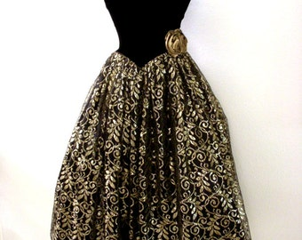 Vintage Black and Metallic Gold Lace Prom Dress - 80s Strapless Tea Length Evening Dress by Gunne Sax  with Attached Crinoline - X Small 3