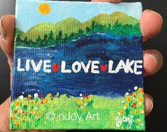 "Live Love Lake, 3""x3"" Art Magnet, original mini acrylic painting"