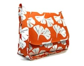 Crossbody Bag Women, Orange Purse, Soft Canvas Messenger Bag, Orange Cross Body Bag, Fabric Purse, Ginko Print Bag, Medium Messenger Purse