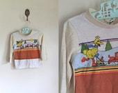 vintage todler tshirt - SLEDDING bigbird long sleeve tee / 24M / 2T