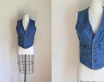 vintage 1970s denim vest - SULTRA blue cotton denim vest / L